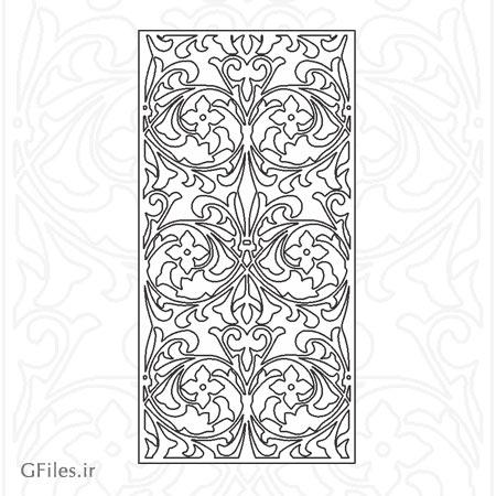 طرح مشبک با گل های پیچ مناسب برای برش و حک لیزری روی چوب