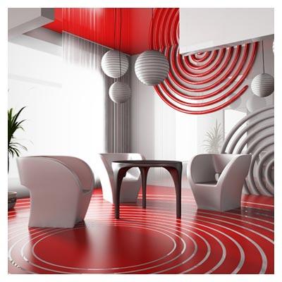 عکس یک فضای فانتزی تزیین شده با رنگ قرمز و سفید به صورت مارپیچ