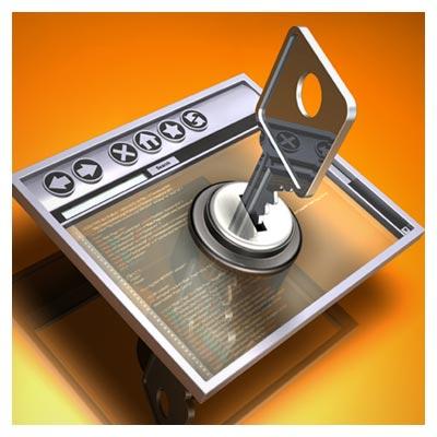 عکس صفحه شیشه ای وب سایت در حال باز شدن قفل با کلید