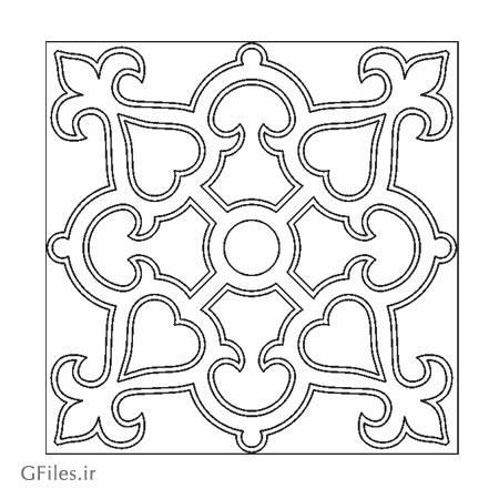 دانلود طرح مربعی تزئینی (تذهیبی) مناسب برای حک یا برش لیزر