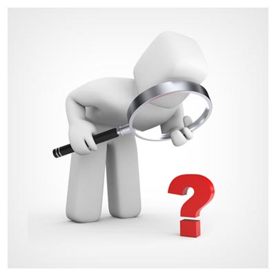 عکس مشاهده علامت سوال قرمز توسط آدمک سفید مجازی با کمک ذره بین