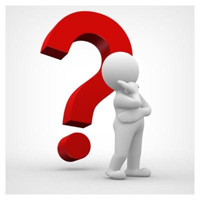 عکس علامت سوال قرمز بزرگ در کنار آدمک سفید متفکر