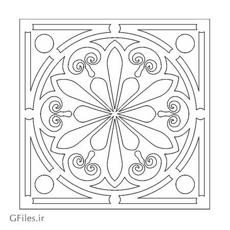 دانلود فایل لایه باز المان تزئینی مربعی و دایره مناسب برای حکاکی یا برش