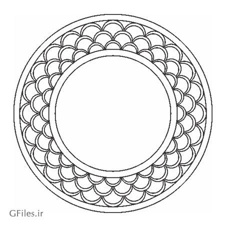 طرح المان تزئینی مدور (دایره ای) با دو فرمت dxf و cdr مناسب برای حک یا لیزر