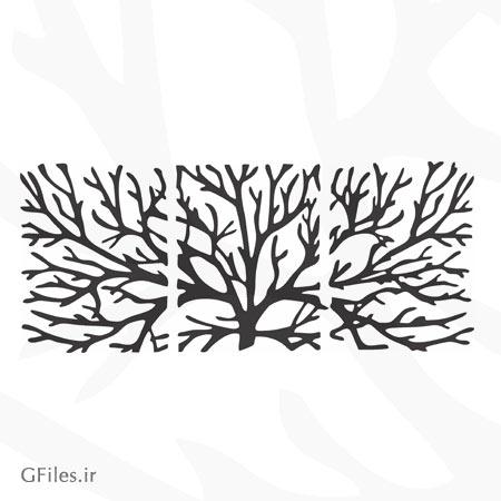 طرح dxf و cdr درخت سه تکه مناسب برای برش لیزر یا حکاکی (cnc)
