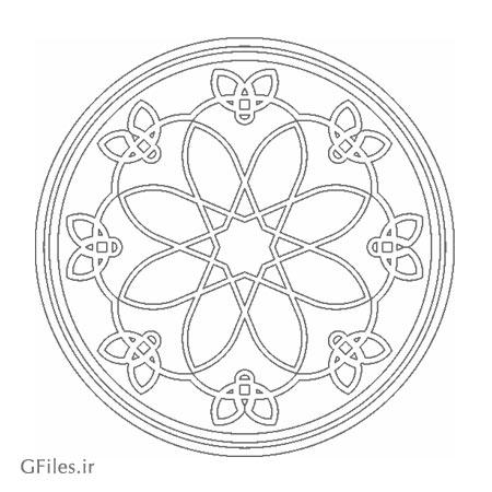 دانلود طرح المان تزئینی دایره ای مناسب جهت برشکاری یا لیزر روی چوب یا فلز