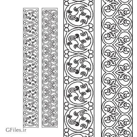 طرح لایه باز دو طرح مختلف از حاشیه و ستون تذهیبی مناسب برای برش لیزر و حک