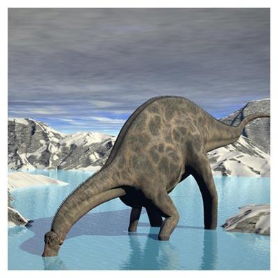 عکس آب خوردن دایناسور های گیاهخوار عظیم الجثه