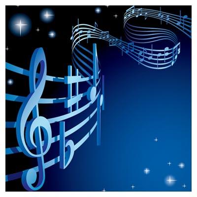 عکس زمینه آبی رنگ با ستاره ها و نوت های موسیقی