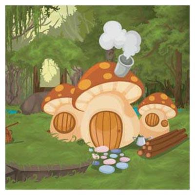 دانلود فایل وکتوری بکگراند کارتونی خانه های قارچ شکل در طبیعت با دو فرمت ai و eps