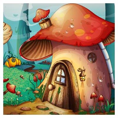دانلود طرح لایه باز بکگراند کارتونی خانه های قارچی مانند  با دو فرمت ai و eps