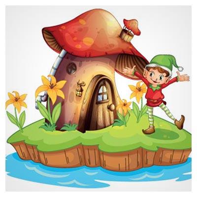 دانلود طرح گرافیکی و کارتونی وکتور کلبه قارچی و پسرک با دو فرمت ai و eps