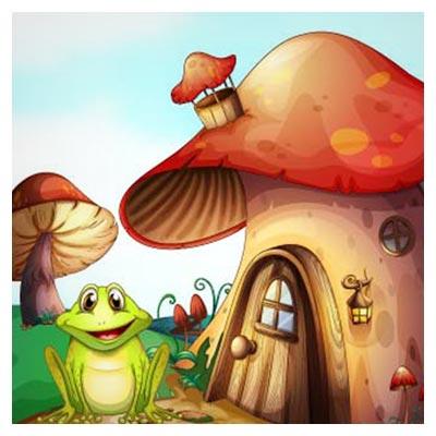 دانلود پس زمینه وکتور کارتونی قورباغه سبز و خانه های قارچی با دو فرمت ai و eps