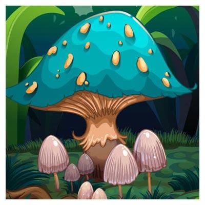 دانلود فایل لایه باز وکتور پس زمینه کارتونی قارچ در طبیعت ارائه شده با دو فرمت ai و eps