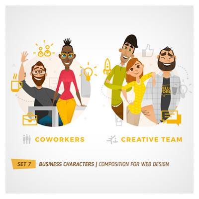 دانلود طرح لایه باز کاراکتر و شخصیت کارتونی از دو گروه مجزا متشکل از زن و مرد ارائه شده با دو فرمت ai و eps