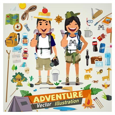 دانلود فایل شخصیت کارتونی وکتور توریست ها و المان های سفر و کوهنوردی قابل ویرایش در نرم افزار ادوب ایلستریتور