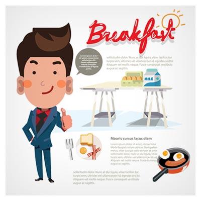 دانلود طرح گرافیکی و کارتونی وکتور اوکی دادن مرد کارمند با موضوع صبحانه بصورت ai و eps