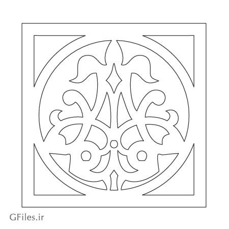 دانلود المان تزئینی با کادر مربعی (تذهیبی) مناسب برای برش لیزر یا سی ان سی