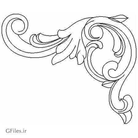 دانلود المان تزئینی گوشه ای با طرح گل جهت برش لیزر و cnc