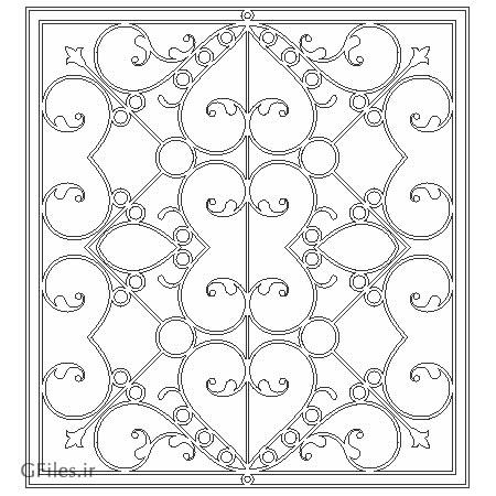 طرح مشبک پنجره یا درب فلزی و چوبی جهت برش لیزر یا cnc