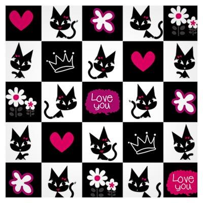 دانلود فایل وکتوری پس زمینه کارتونی گربه و قلب و گل بر روی خانه های شطرنج ارائه شده با دو فرمت ai و eps