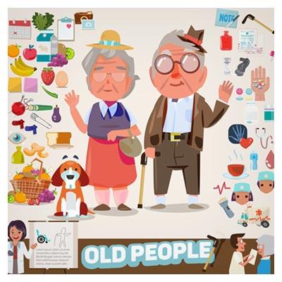دانلود فایل لایه باز وکتور پس زمینه کارتونی زوج سالخورده ارائه شده با دو فرمت ai و eps