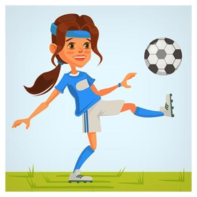 دانلود فایل لایه باز کاراکتر و شخصیت کارتونی شوت زدن فوتبالیست زن با دو فرمت ai و eps