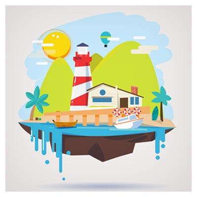 دانلود فایل وکتوری بکگراند کارتونی نمای شهر ساحلی بصورت طراحی فلت با دو فرمت ai و eps