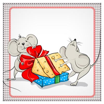 دانلود فایل شخصیت کارتونی وکتور دو موش و کادوی پنیر، ارائه شده با دو فرمت ai و eps