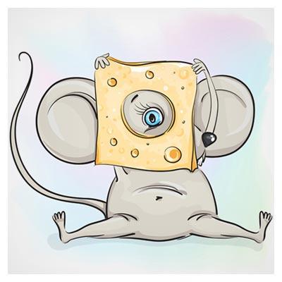 دانلود فایل لایه باز کاراکتر و شخصیت کارتونی چشم موش در حالت نگاه از سوراخ وسط پنیر، ارائه شده با دو فرمت ai و eps