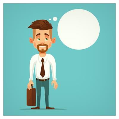 دانلود فایل لایه باز کاراکتر و شخصیت کارتونی مرد متفکر با ریش و کیف قابل اجرا در کلیه نرم افزارهای گرافیکی