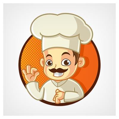 دانلود فایل شخصیت کارتونی وکتور مرد سرآشپز سبیلو با کلاه سفید با دو فرمت ai و eps