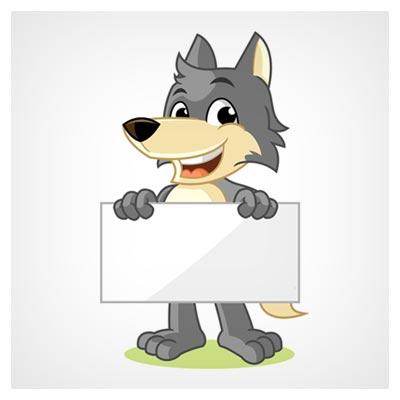 فایل لایه باز وکتور پس زمینه کارتونی با موضوع گرگ مهربان با یک بنر در دست قابل اجرا در کلیه نرم افزارهای گرافیکی