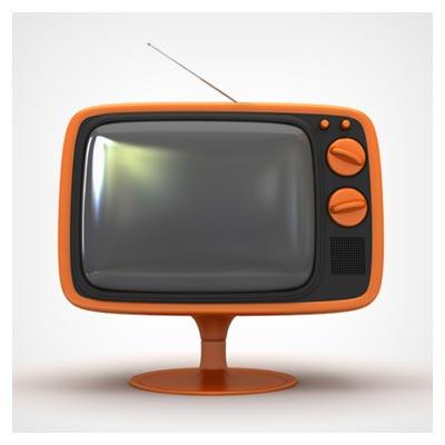 دانلود تصویر با کیفیت تلویزیون نارنجی مشکی گوشه گرد با آنتن و کلیدهای بزرگ