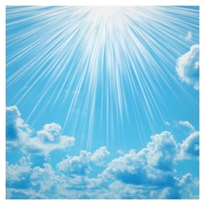 دانلود تصویر تابش خورشید و نور آن به اطراف در آسمان