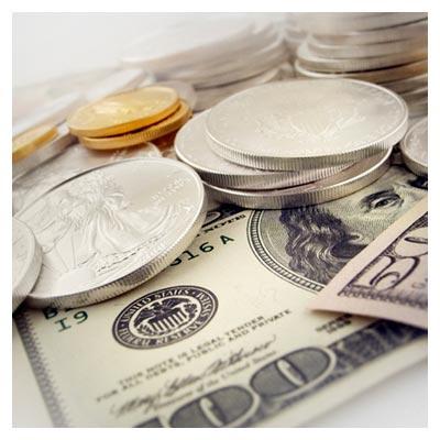 دانلود تصویر اسکناس های دلار و سکه های طلا و نقره با پسوند JPG