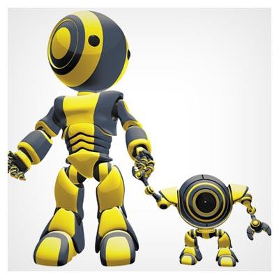 دانلود عکس رایگان روبات هوشمند بزرگ که دست ربات کوچک زرد را گرفته است