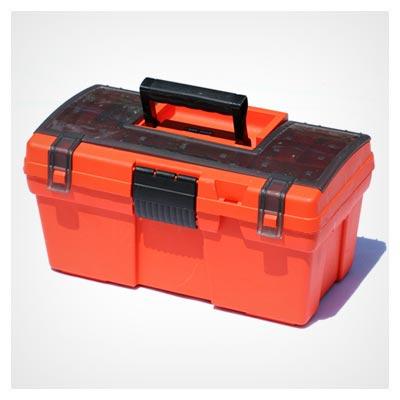 دانلود عکس جعبه ابزار نارنجی بزرگ برای حمل وسایل تعمیر با دسته مشکی