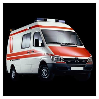 دانلود عکس یک خودروی بنز آمبولانس سفید و نارنجی ارائه شده با پسوند jpg