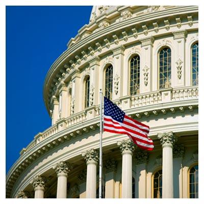 دانلود تصویر پرچم امریکا در کنار ساختمان بزرگ کاخ واشنگتن با فرمت jpg