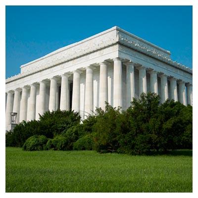دانلود تصویر ستون های بلند ساختمان بزرگ یادبود لینکلن در امریکا