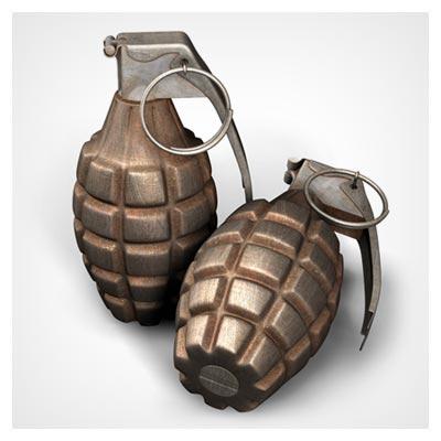 دانلود تصویر شاتراستوک دو عدد نارنجک جنگی یا بمب دستی با ضامن