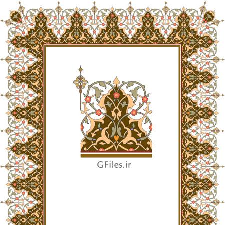 دانلود طرح لایه باز قاب تذهیب وکتوری مذهبی به رنگ قهوه ای و سفید
