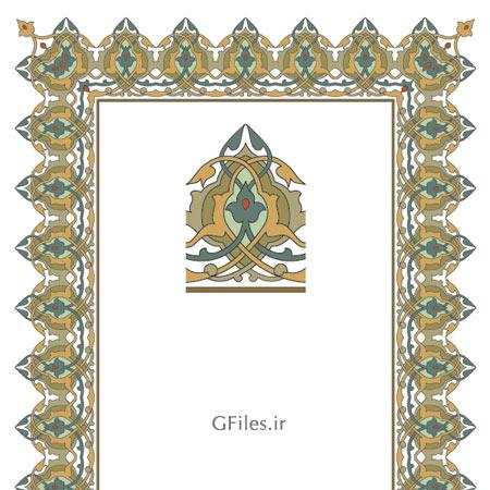 فایل لایه باز ارائه شده با دو فرمت ai و esp طراحی اسلیمی مدهبی و تذهیبی