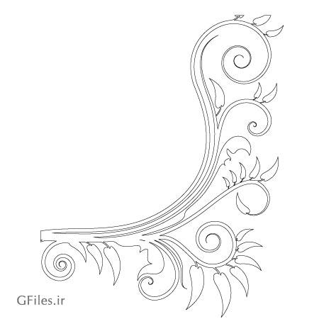 طرح لایه باز گل های پیچ مناسب برای حک و برش لیزر (cnc) گوشه ای