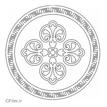 المان تزئینی لایه باز دایره ای مناسب برای حکاکی یا لیزر روی سینی یا چوب