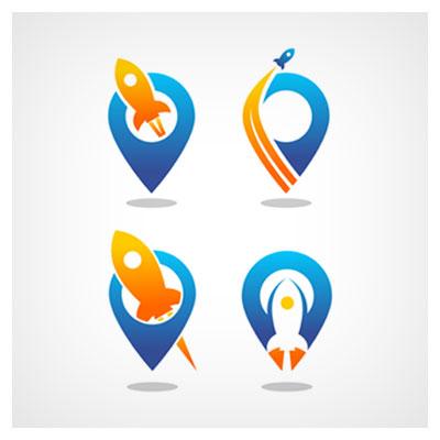 دانلود طرح وکتوری لوگو موشک در حال پرواز در چهار حالت در کنار نماد مکان نما با دو فرمت ai و eps