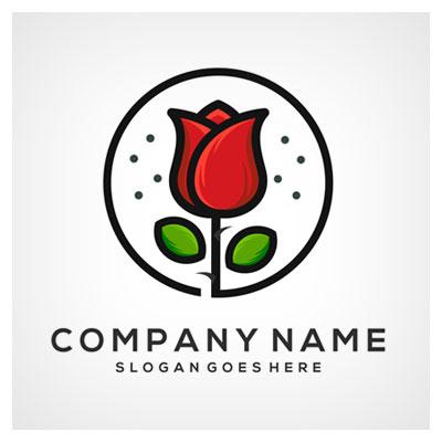 دانلود طرح وکتوری گل لاله قرمز همراه نماد نام کمپانی ارائه شده با دو فرمت ai و eps