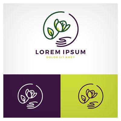 دانلود طرح نما وکتوری لایه باز لوگو سمبلیک گل و دست برای آرامش ارائه شده با دو فرمت ai و eps