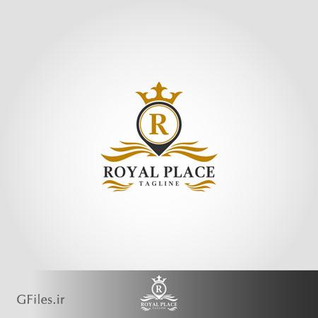 دانلود فایل لوگو وکتوری لوکس لایه باز مکان سلطنتی به صورت ترکیب r و تاج با دو فرمت ai و eps